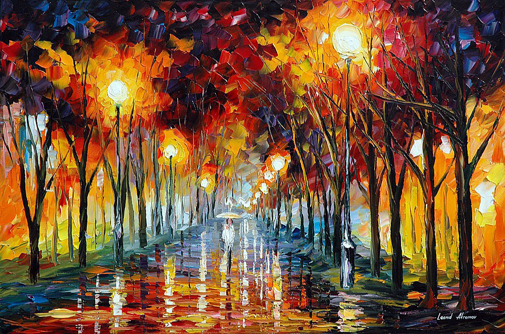 "APPROACHING — Original Oil Painting On Canvas By Leonid Afremov - Size 30""x20"" (75cm x 50cm)"