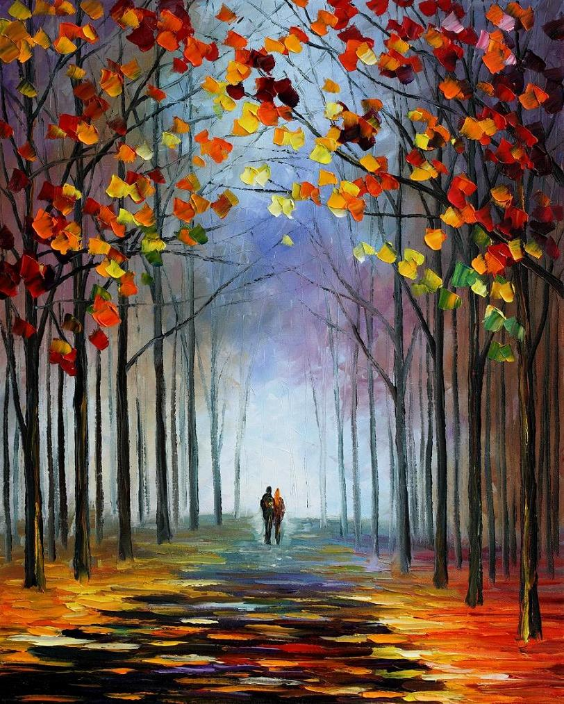 "AUTUMN FOG 1— Original Oil Painting On Canvas By Leonid Afremov - Size 24""X30"""