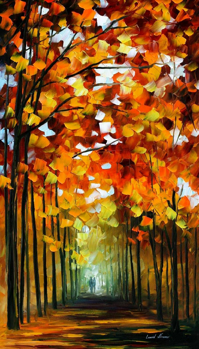 "BEFORE THE LEAFS FALL — Original Oil Painting On Canvas By Leonid Afremov - Size 20""x36"""