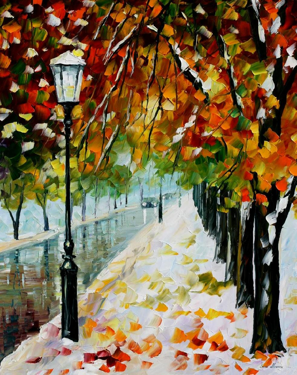 "BEGINNING OF WINTER — Original Oil Painting On Canvas By Leonid Afremov - Size 24""x30"""
