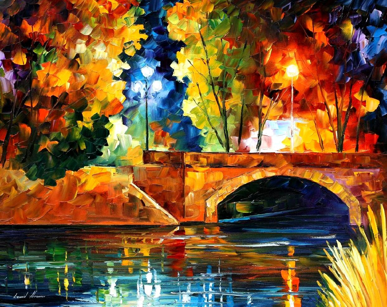 "BRIDGE OVER THE LIFE — Original Oil Painting On Canvas By Leonid Afremov - Size 30""x24"""