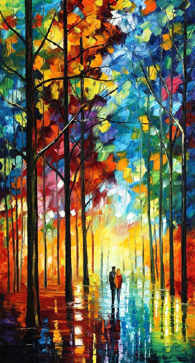 "DATE IN THE PARK — Original Oil Painting On Canvas By Leonid Afremov - Size 24""x40""(60cm x 100cm)"