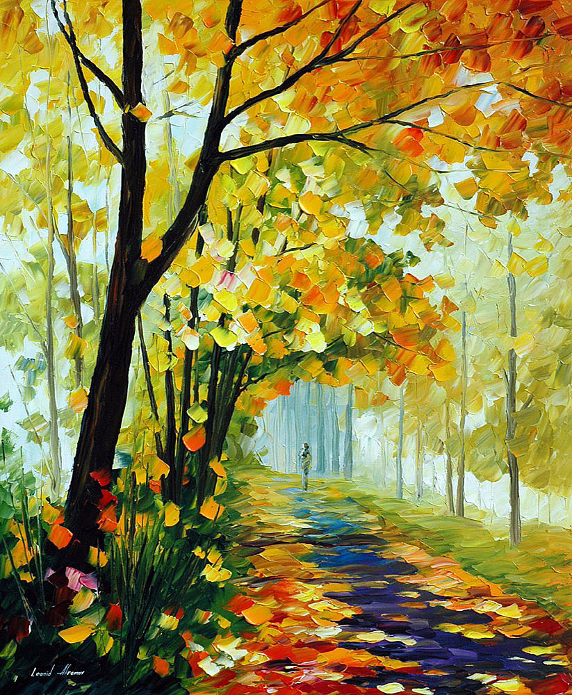 "DELICACY OF THE FALL — Original Oil Painting On Canvas By Leonid Afremov - Size 30""x36"" (75cm x 90cm)"