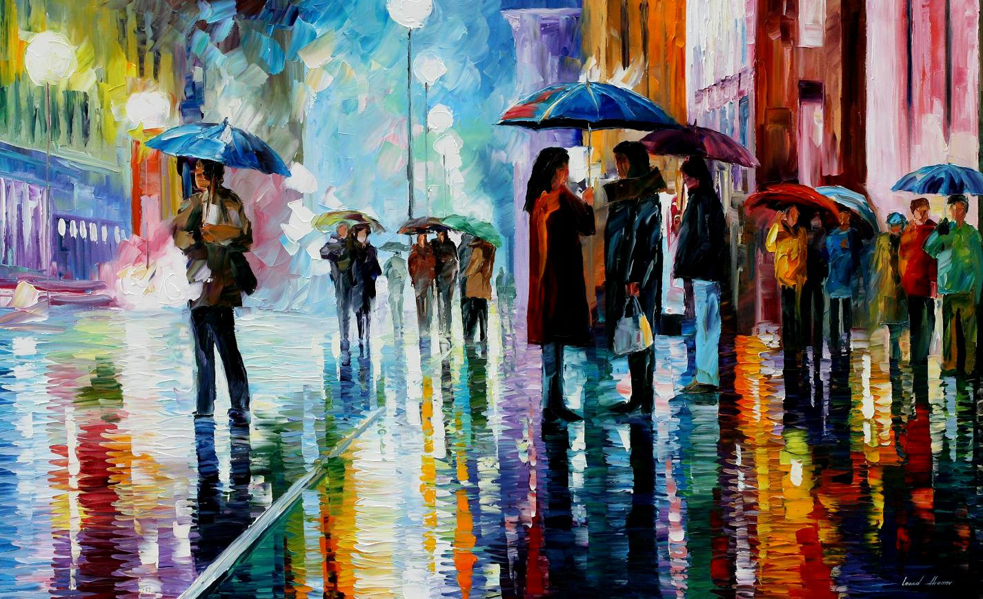 "BUS STOP - UNDER THE RAIN — Original Oil Painting On Canvas By Leonid Afremov - Size 40""x24"""