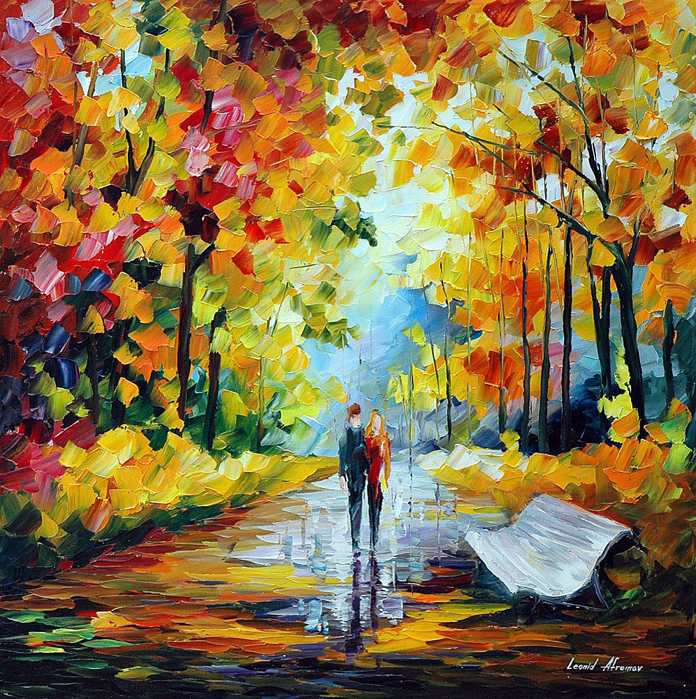 "FALL'S CHARM — Original Oil Painting On Canvas By Leonid Afremov - Size 24""x24"" (60cm x 60cm)"