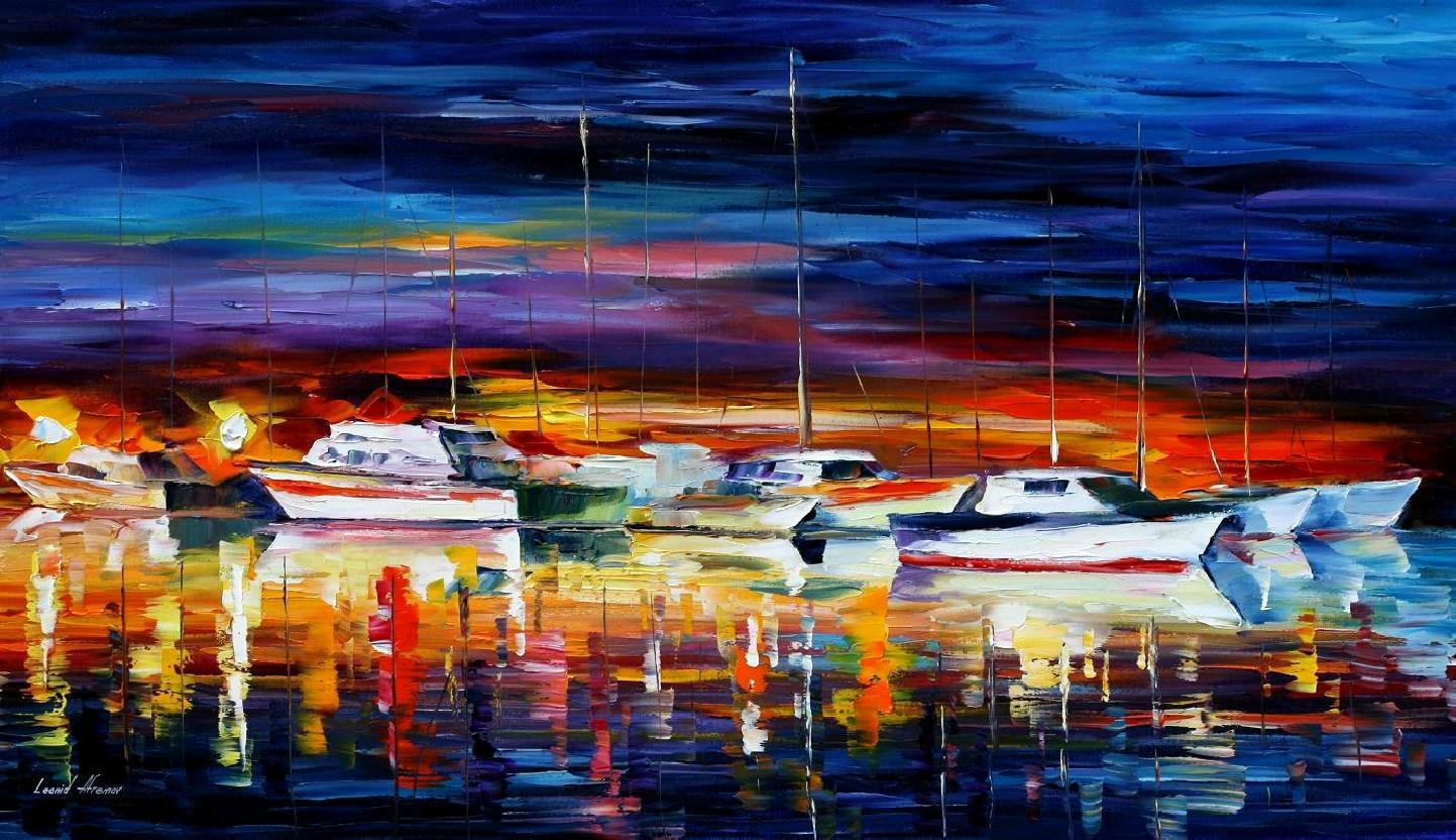 "YACHT CLUB — NIGHT — Original Oil Painting On Canvas By Leonid Afremov - Size 36""x20"""