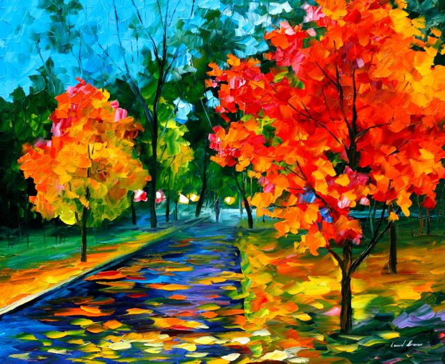 "FLAME OF AUTUMN — Original Oil Painting On Canvas By Leonid Afremov - Size 36""X30"""
