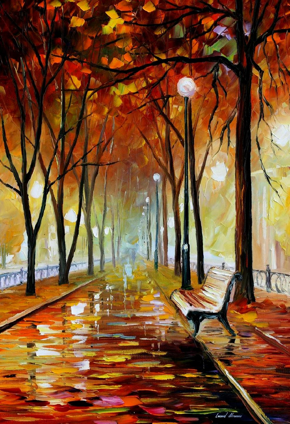 "GOLDEN PARK — Original Oil Painting On Canvas By Leonid Afremov - Size 24""x36"""