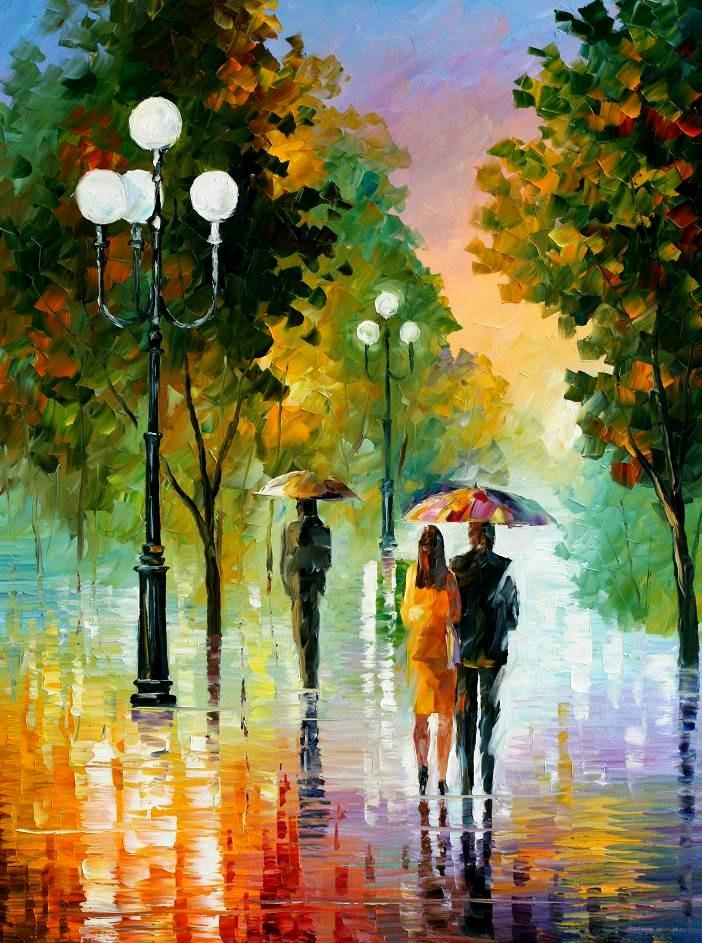 "EVENING STROLL UNDER THE RAIN — Original Oil Painting On Canvas By Leonid Afremov - Size 30""x40"