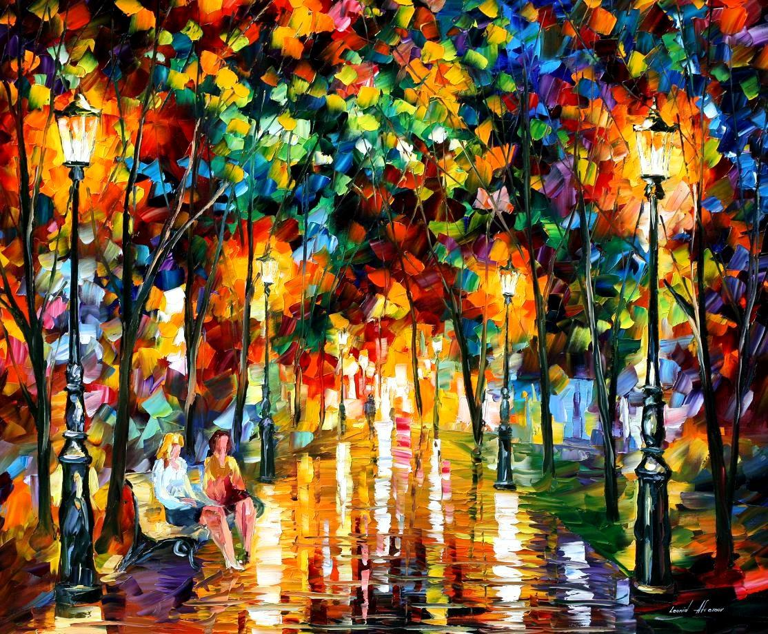 "GOSSIPS — Original Oil Painting On Canvas By Leonid Afremov - Size 36""X30"""