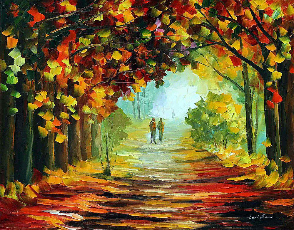 "GREEN TUNNEL — Original Oil Painting On Canvas By Leonid Afremov - Size 30""x24"" (75cm x 60cm)"
