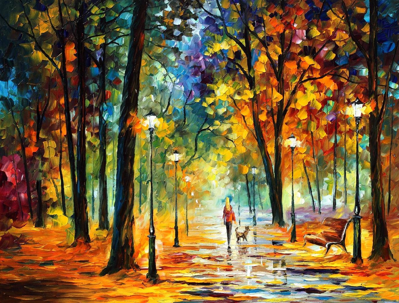 "IMPROVISATION OF NATURE  — Original Oil Painting On Canvas By Leonid Afremov - Size 40""X30"""