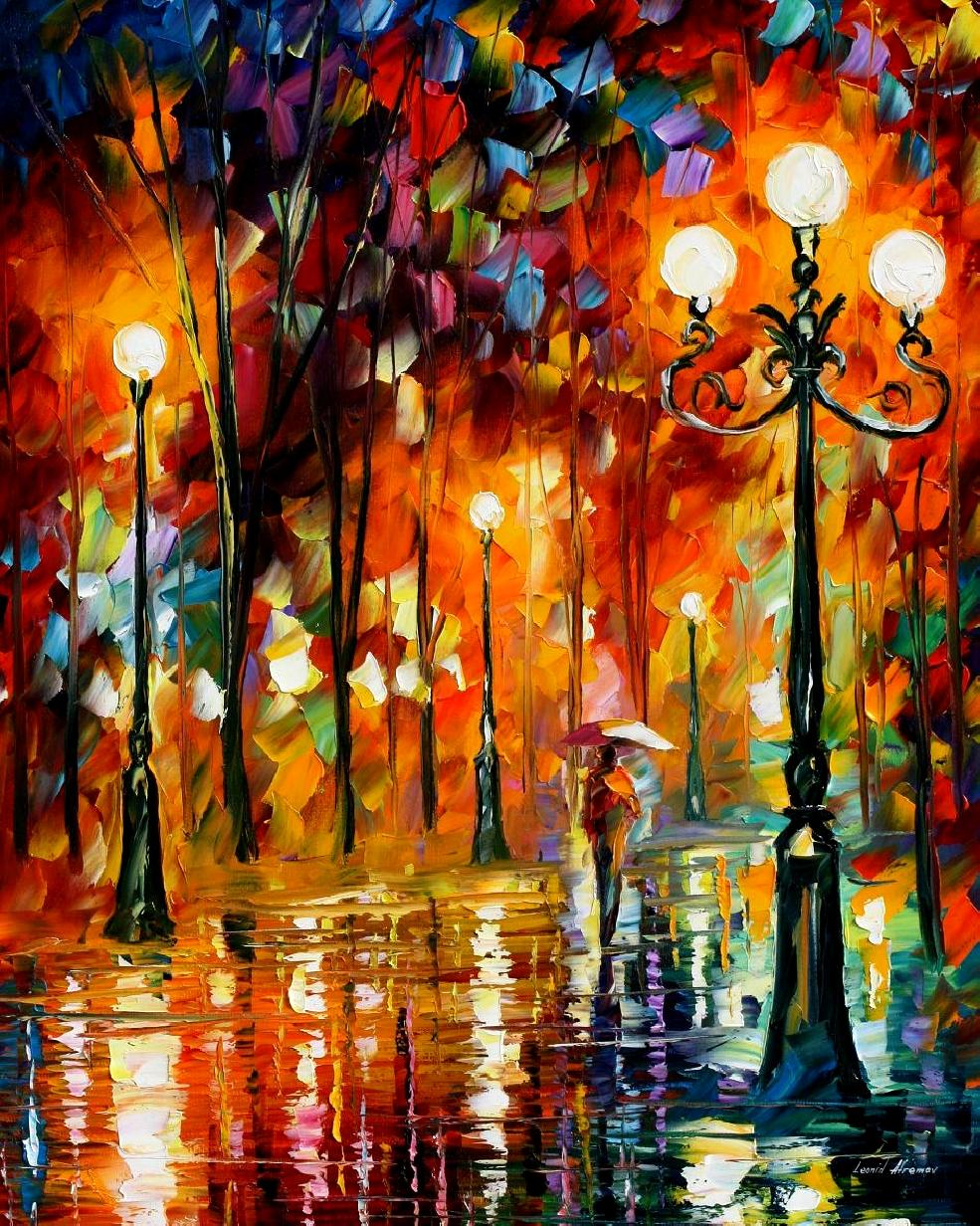"LONELY NIGHT  — Original Oil Painting On Canvas By Leonid Afremov - Size 24""x30"""