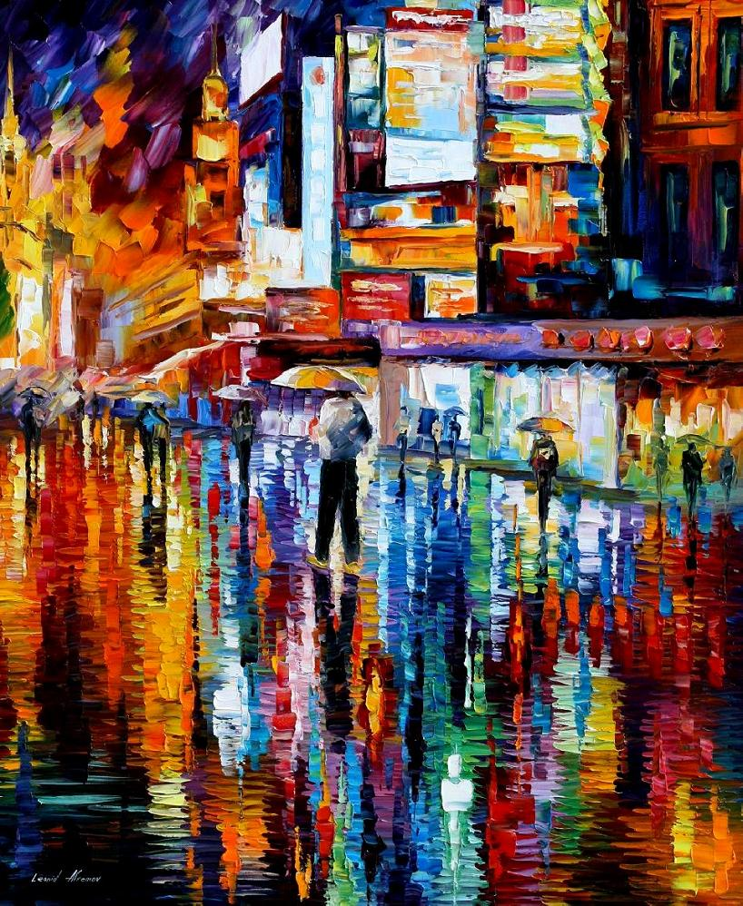 "THE VIBRATION OF THE NIGHT — Original Oil Painting On Canvas By Leonid Afremov - Size 30""x36"" (75cm x 90cm)"