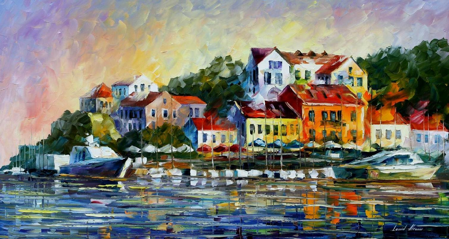 "MEDITERRANEAN NOON — Original Oil Painting On Canvas By Leonid Afremov - Size 36""x20"" (90cm x 50cm)"