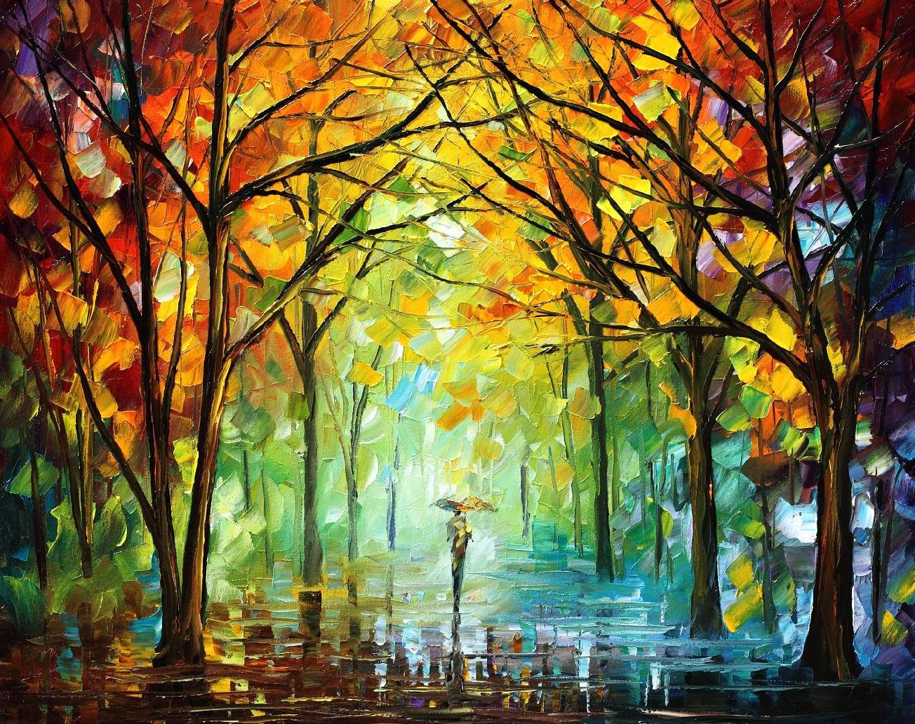 "OCTOBER IN THE FOREST — Original Oil Painting On Canvas By Leonid Afremov - Size 30""X24"""