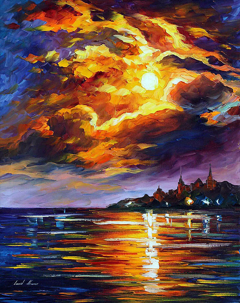 "SUNSET FLAMES — Original Oil Painting On Canvas By Leonid Afremov - Size 30""x24"" (75cm x 60cm)"