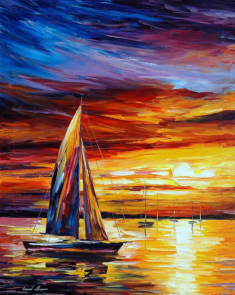 "SOFT BREEZE — Original Oil Painting On Canvas By Leonid Afremov - Size 24""x30"" (60cm x 75cm)"