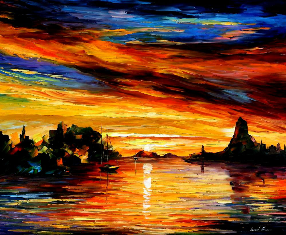 "SICILY — CATANIA — Original Oil Painting On Canvas By Leonid Afremov - Size 36""x30"""