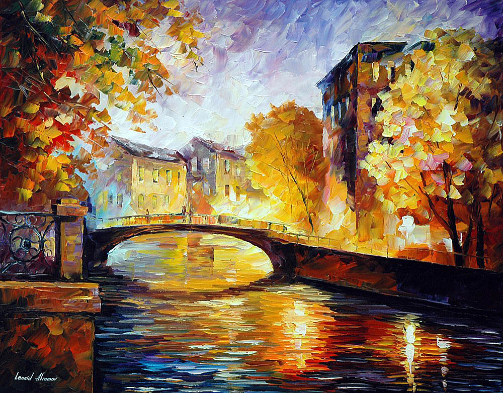 "FALL EVENING — Original Oil Painting On Canvas By Leonid Afremov - Size 30""x24"" (75cm x 60cm)"