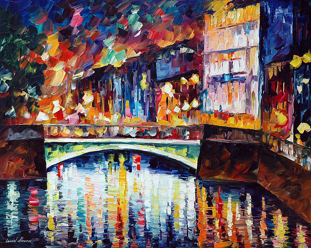 "GREEN BRIDGE — Original Oil Painting On Canvas By Leonid Afremov - Size 30""x24"" (75cm x 60cm)"