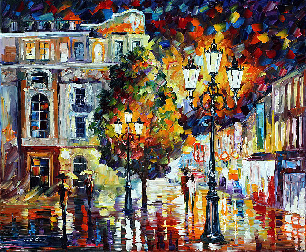 "LONELY COUPLES — Original Oil Painting On Canvas By Leonid Afremov - Size 36""x30"" (90cm x 75cm)"