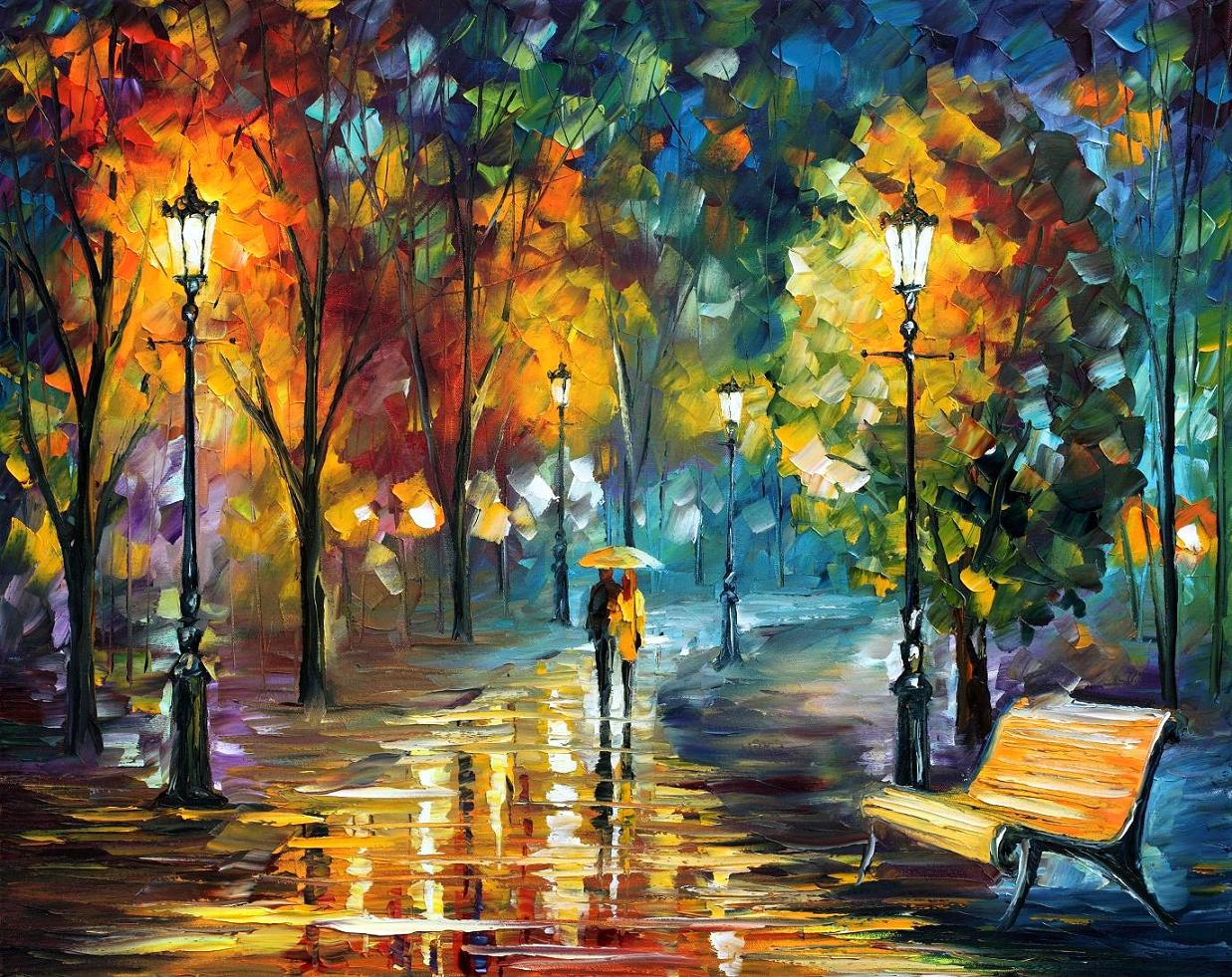 SOUL OF THE RAIN Original Oil Painting On Canvas By Leonid Afremov