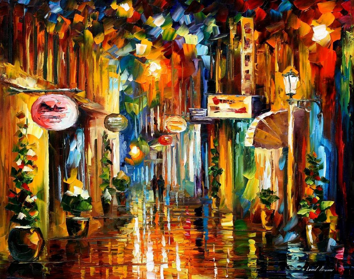 Old City Street Palette Knife Oil Painting On Canvas By Leonid Afremov Size 24 X30