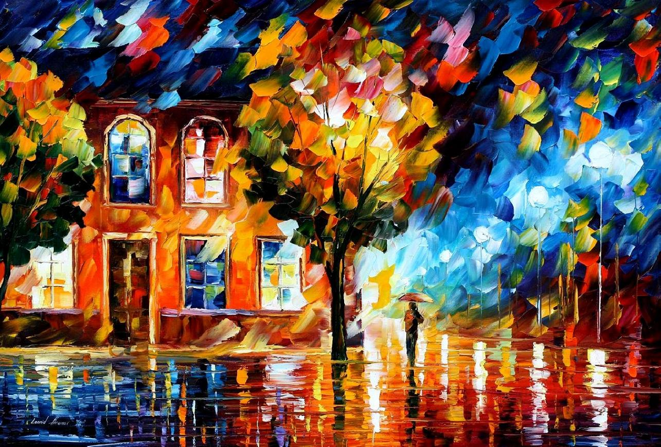 City of moon light palette knife oil painting on canvas for Lights for paintings