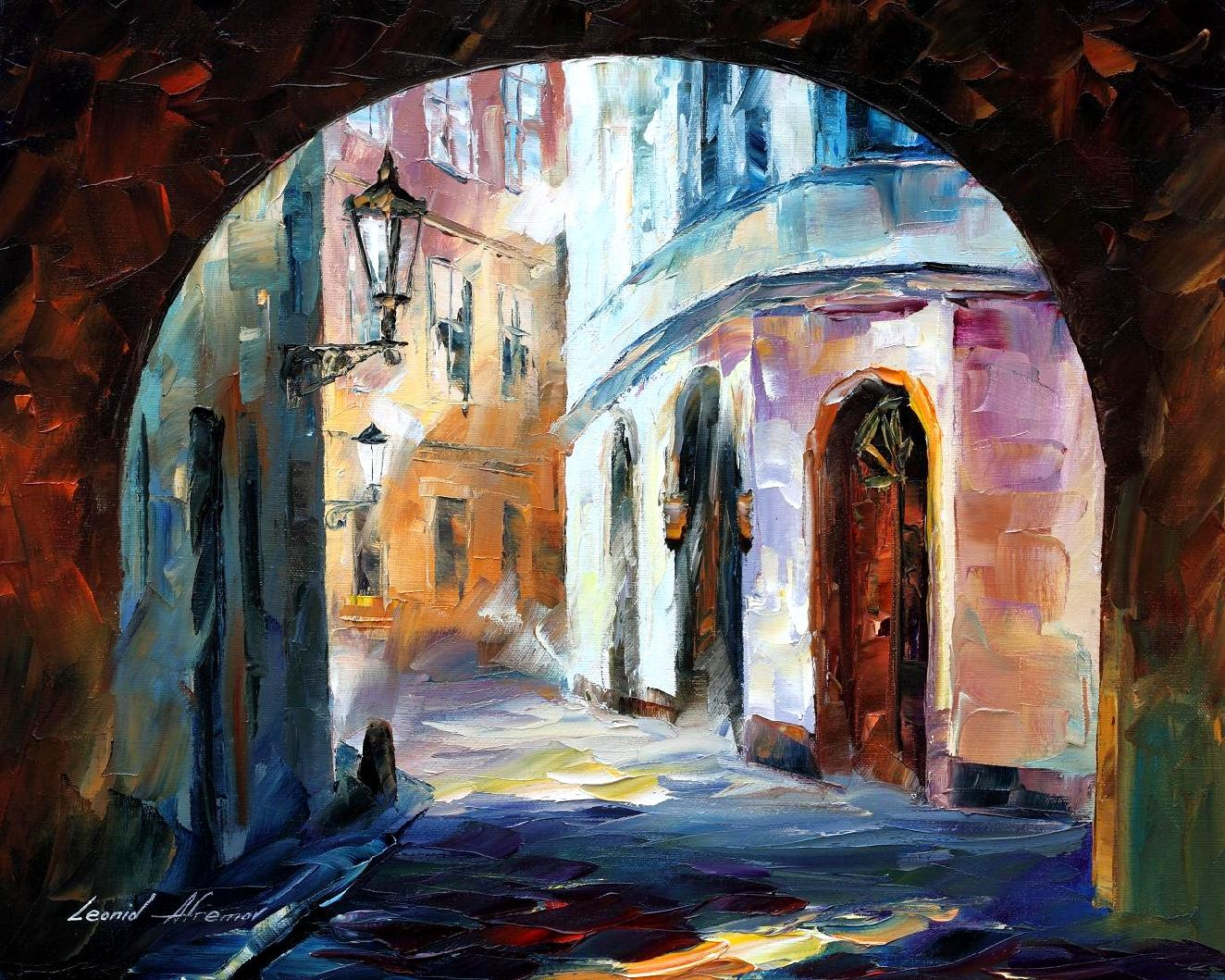 Old town 1 palette knife oil painting on canvas by for Best painting images