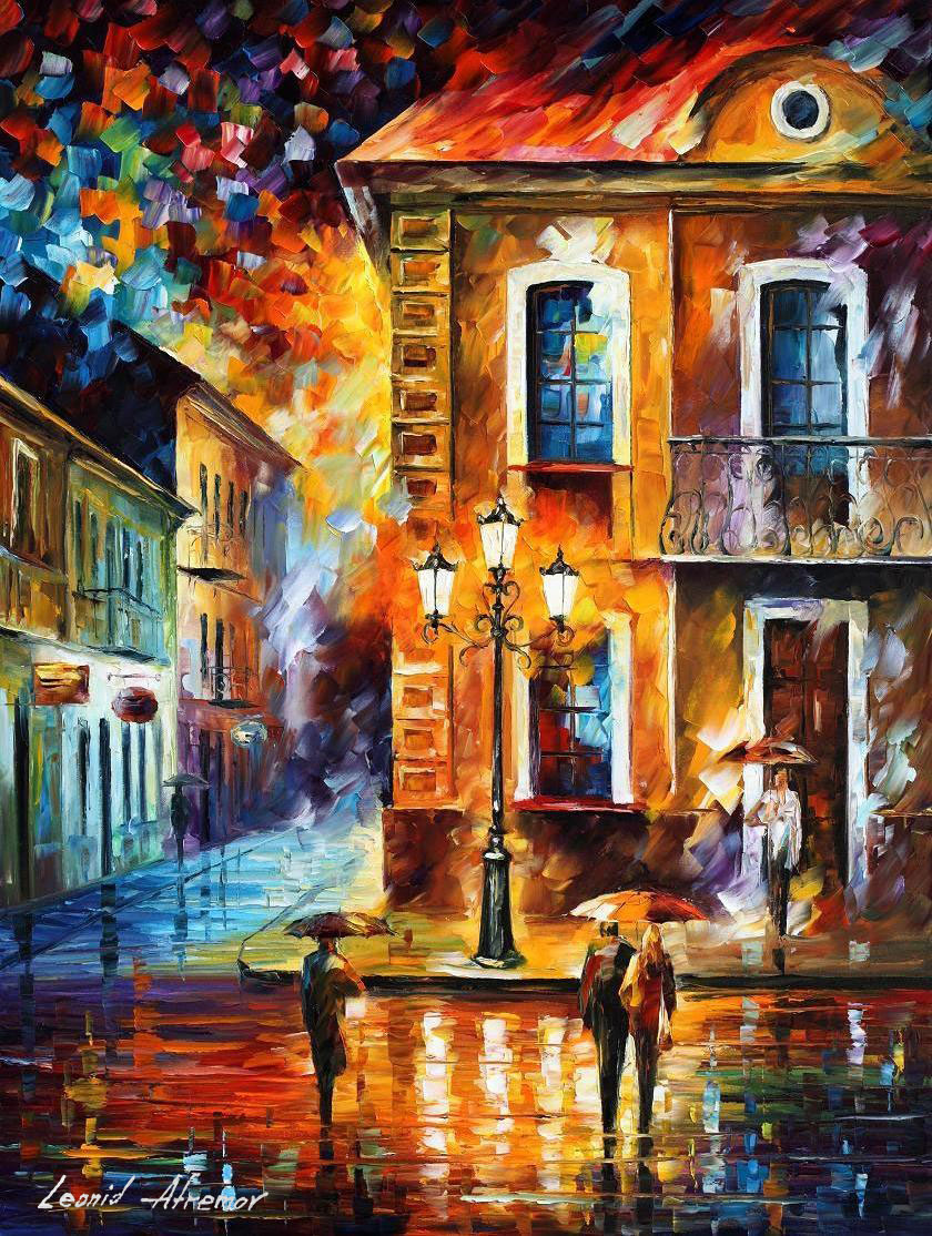 CHARMING NIGHT — PALETTE KNIFE Oil Painting On Canvas By ... - photo#2