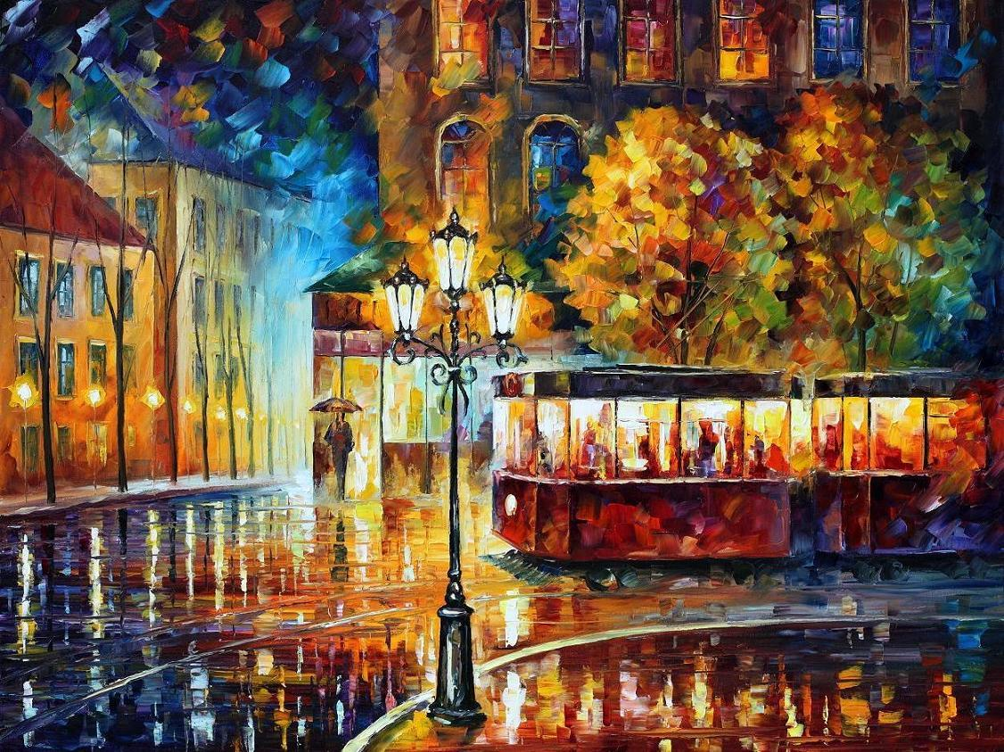 Night Trolley Palette Knife Large Oil Painting On Canvas