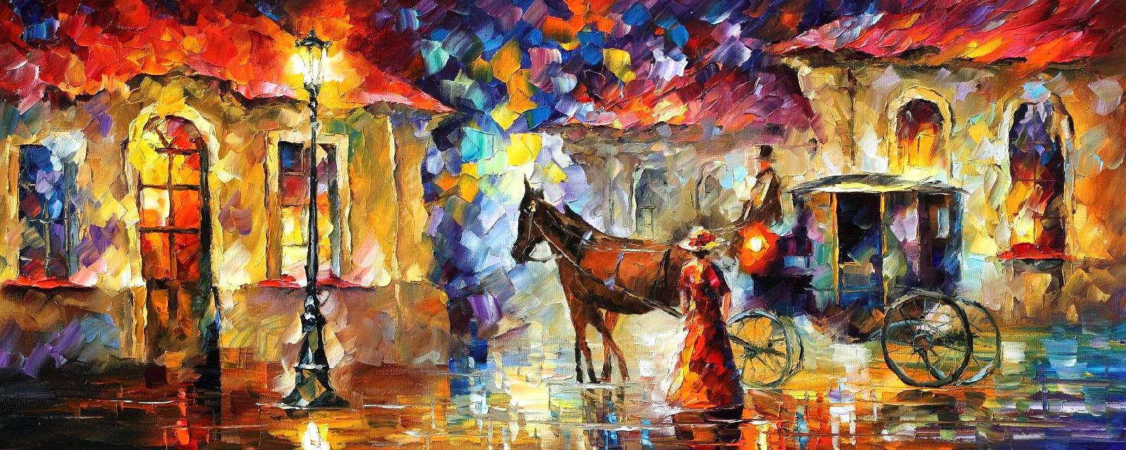 HORSES — PALETTE KNIFE Oil Painting On Canvas By Leonid Afremov