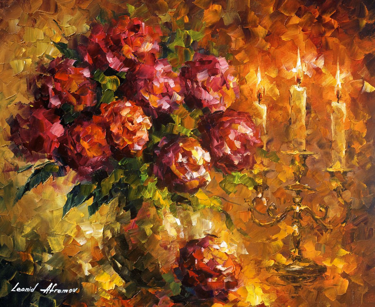 Roses And Candles - Original Oil Painting On Canvas By -5113