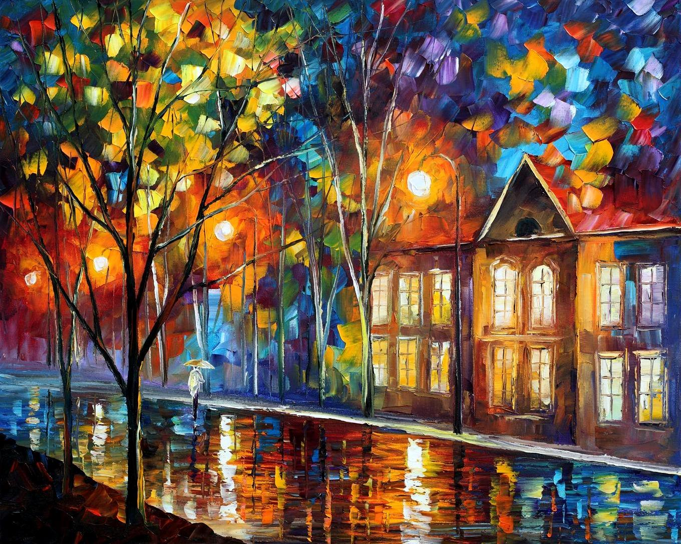 "WHEN THE CITY SLEEPS — PALETTE KNIFE Oil Painting On Canvas By Leonid Afremov - Size 30""x24""(75cm x 60 cm)"
