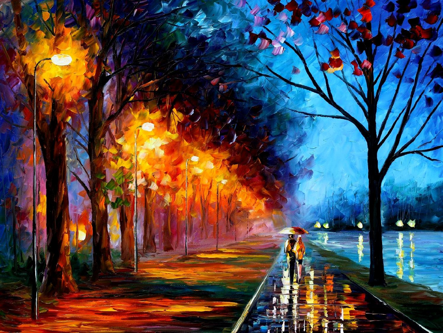 "ALLEY BY THE LAKE 2 — PALETTE KNIFE Oil Painting On Canvas By Leonid Afremov - Size 72x48"" (180cm x 120cm)"