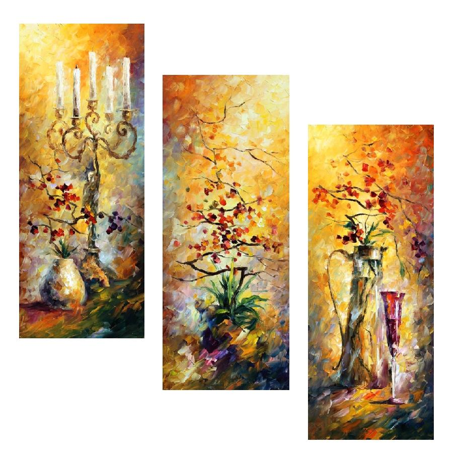 "ORIENTAL DREAMS SET OF 3  - Original Oil Painting On Canvas By Leonid Afremov - 16""X40"" EACH"