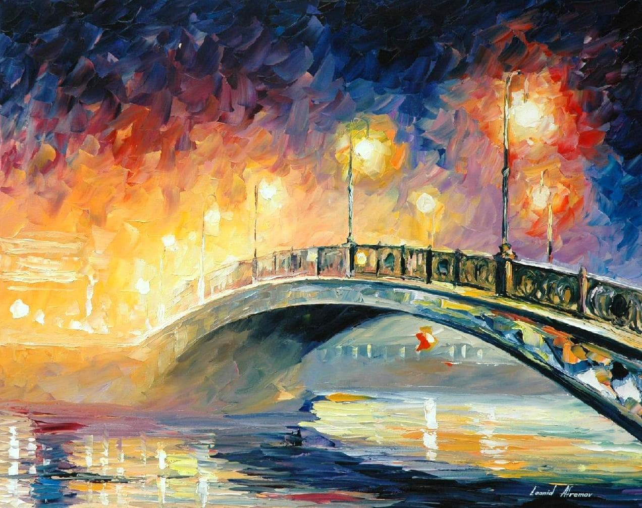 Bridge Mdash Palette Knife Oil Painting On Canvas By Leonid