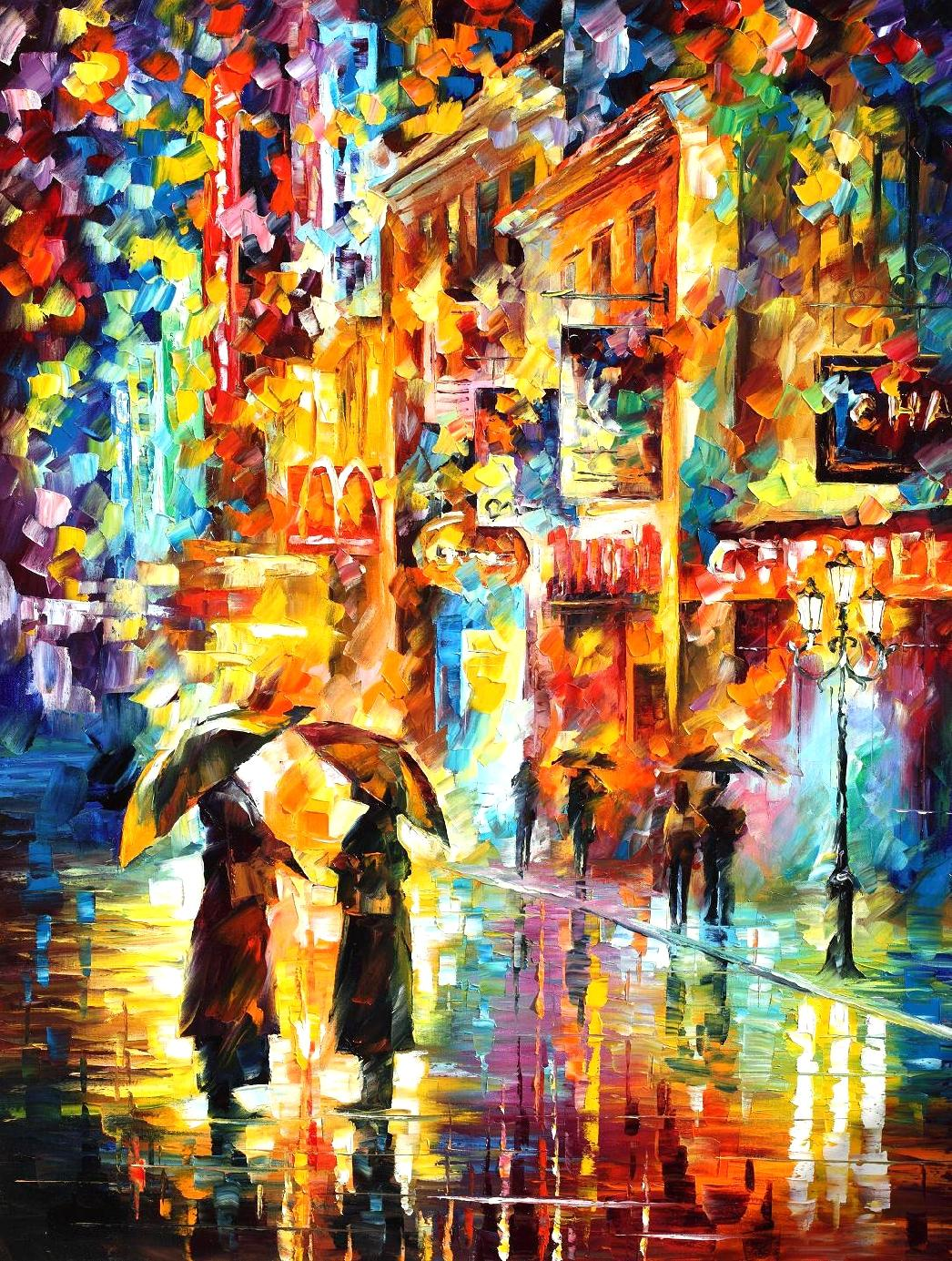 "RAINY ENCOUNTER - Original Oil Painting On Canvas By Leonid Afremov - 30""X40"""