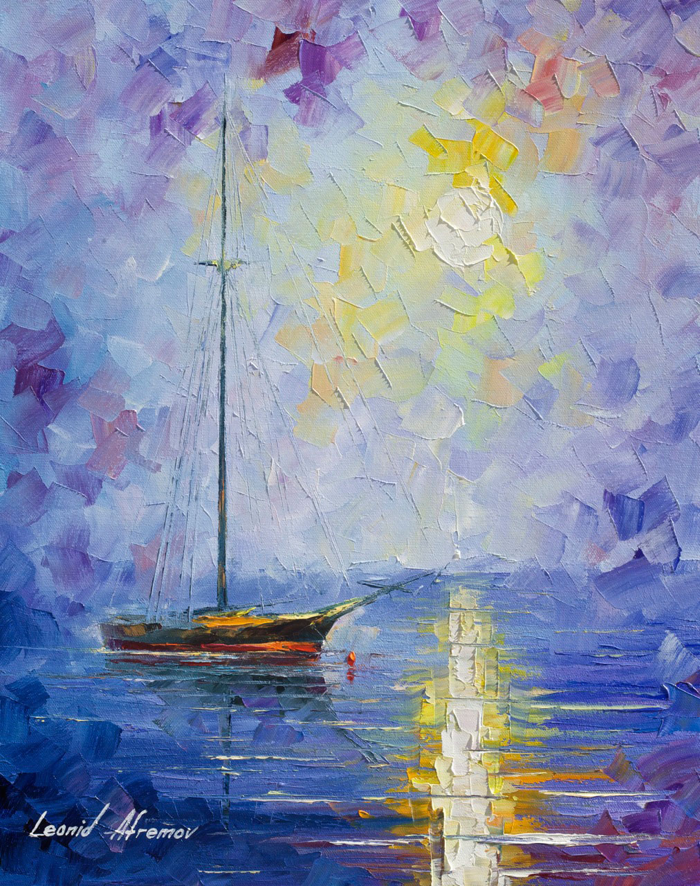 "WINDLESS DAY - Original Oil Painting On Canvas By Leonid Afremov - 16""x20"""
