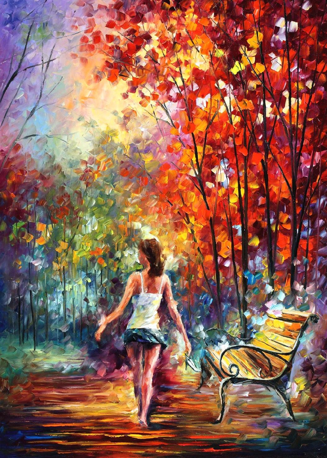 BAREFOOTED STROLL - mixed media giclee On Canvas By Leonid Afremov - 24x30