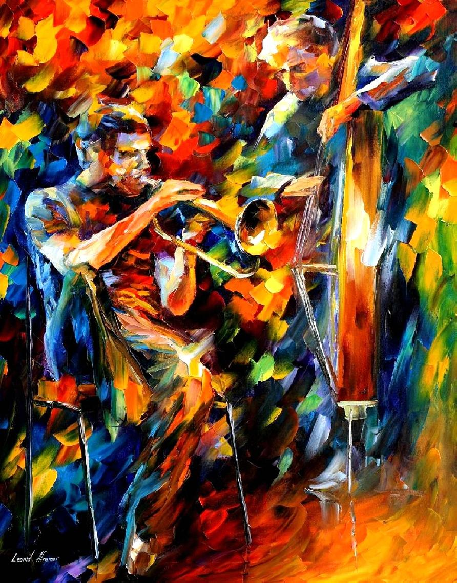 Jazz Duo Oil Painting On Canvas