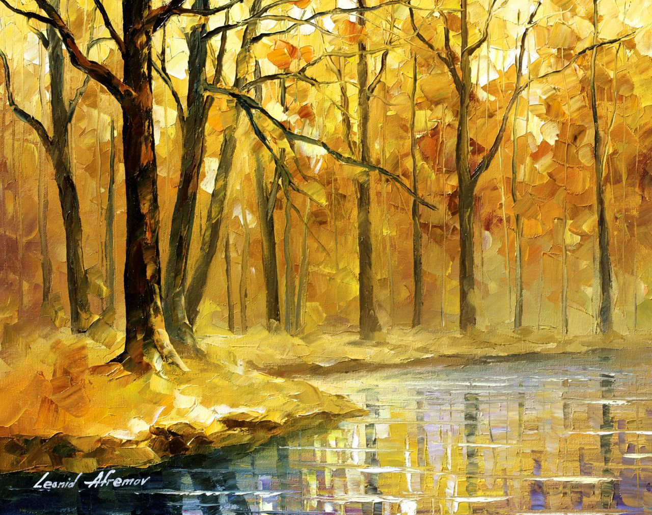 "STREAM IN THE FOREST - Original Oil Painting On Canvas By Leonid Afremov - 20""X16"""