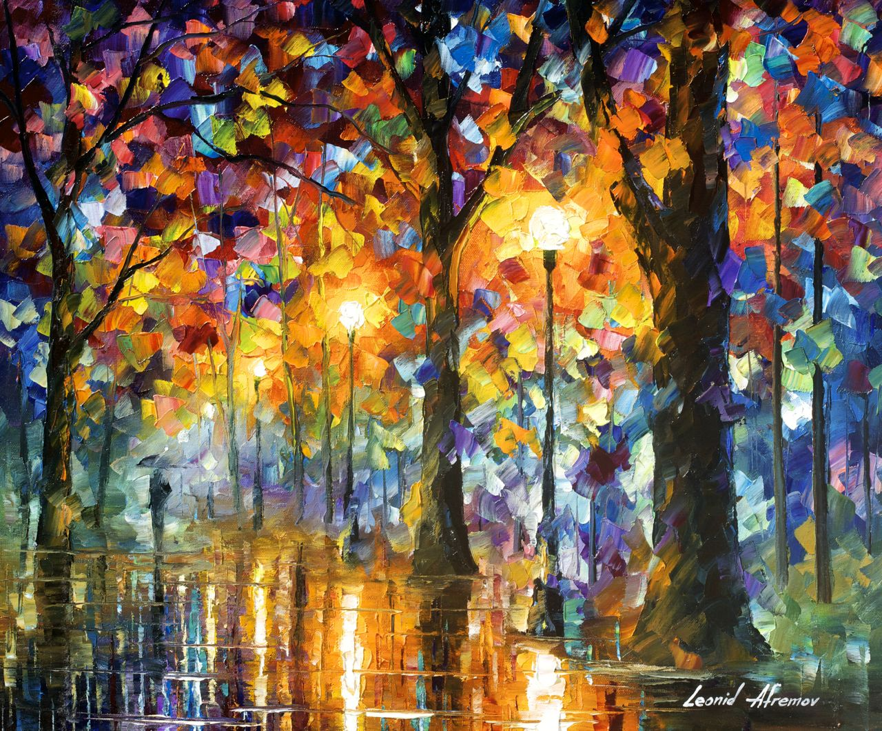 "TREES OF MAGIC - Original Oil Painting On Canvas By Leonid Afremov - 24""x20"""