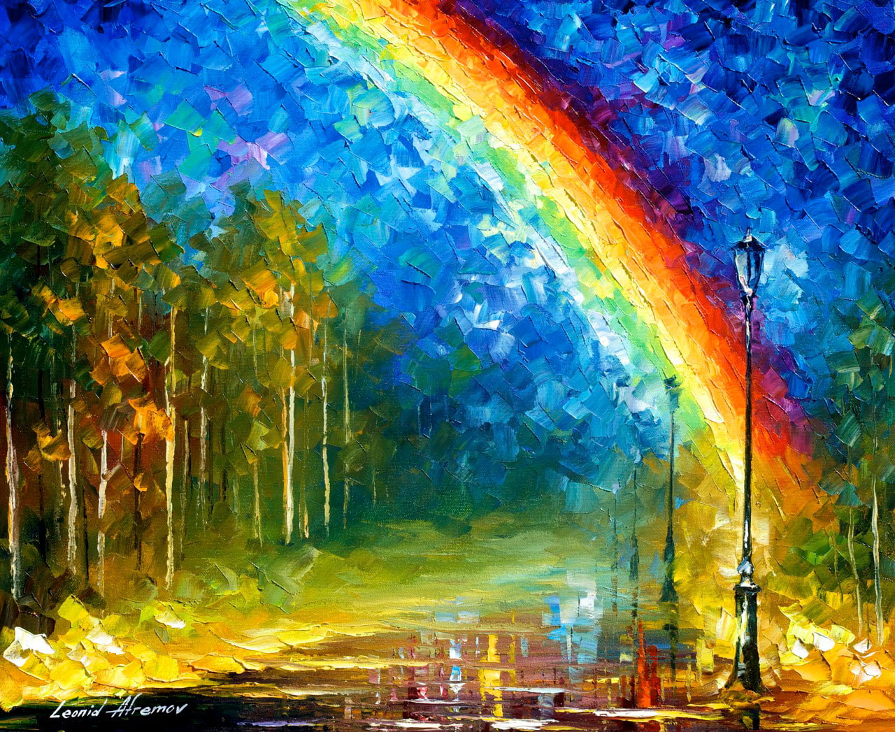 Rainbow palette knife oil painting on canvas by leonid for Best canvas painting images