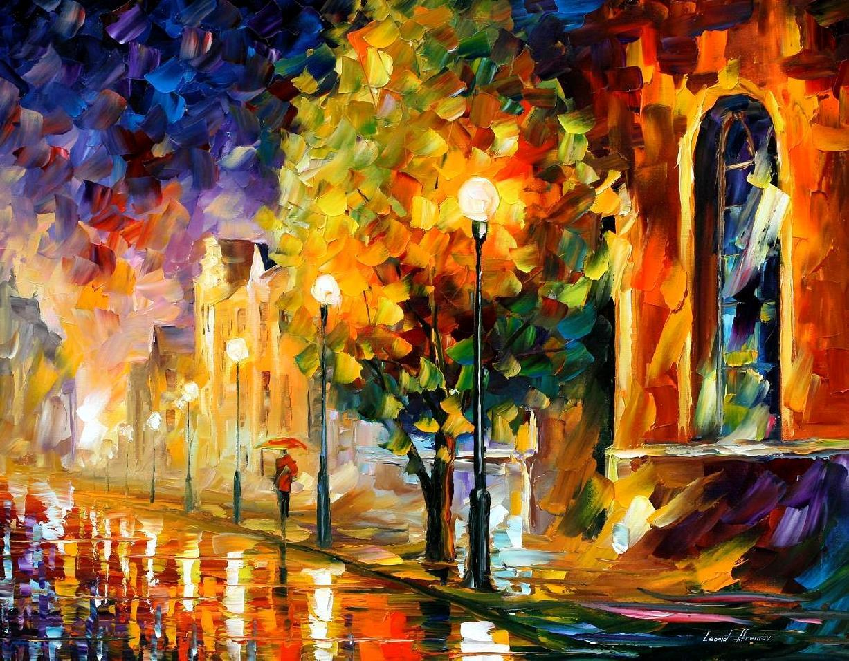 before sunrise palette knife oil painting on canvas by