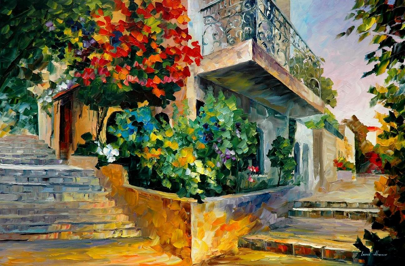 Jerusalem garden on the stones palette knife oil for Garden painting images