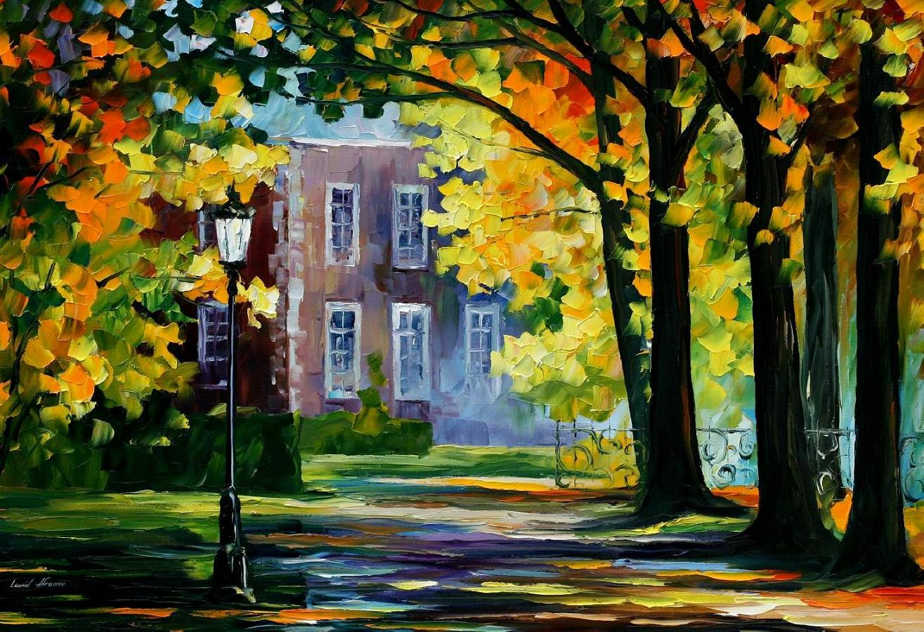 Summer house palette knife oil painting on canvas by for Oil paintings for the home