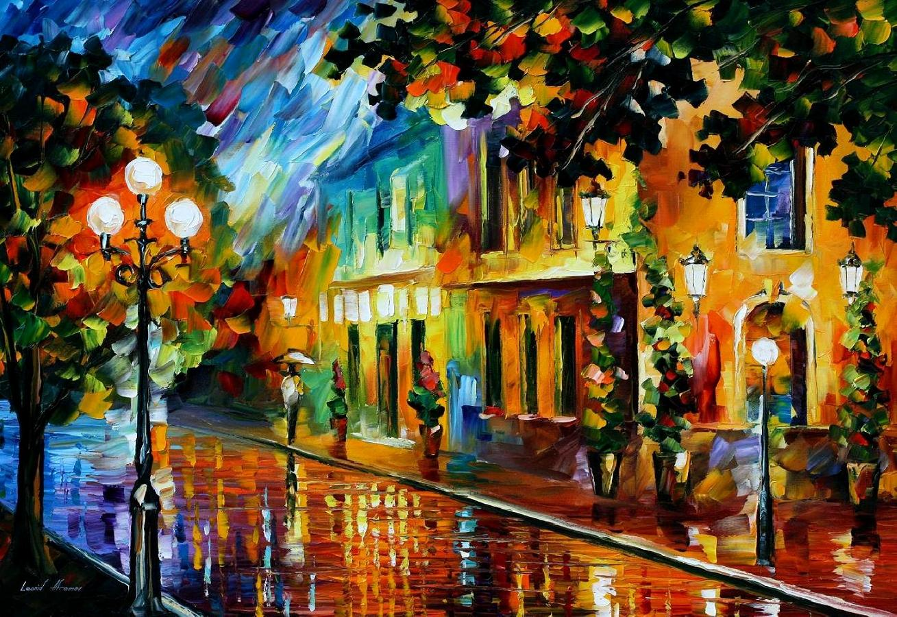 NIGHT FLOWERS NIGHT FLOWERS & NIGHT FLOWERS u2014 PALETTE KNIFE Oil Painting On Canvas By Leonid ...