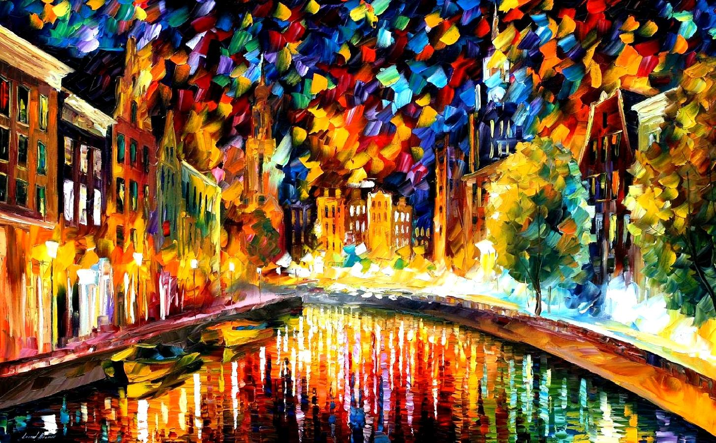 coming back amsterdam palette knife oil painting on canvas by leonid afremov size 24 x40. Black Bedroom Furniture Sets. Home Design Ideas